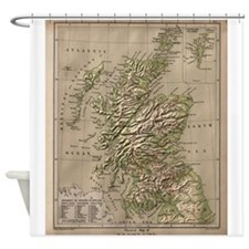 Vintage Physical Map of Scotland (1 Shower Curtain