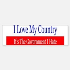 Love My Country Hate The Government Bumper Car Car Sticker