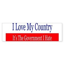 Love My Country Hate The Government Bumper Car Sticker