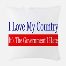 Love My Country Hate The Government Woven Throw Pi