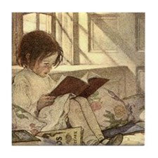 Vintage Books in Winter, Child Readin Tile Coaster
