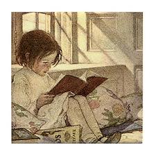 Vintage Books in Winter, Child Readin Tile Coaster