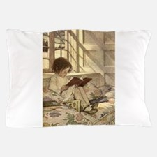 Vintage Books in Winter, Child Reading Pillow Case