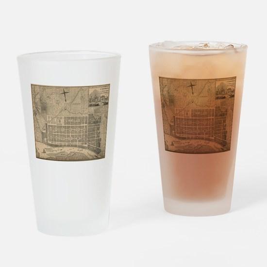 Vintage Map of Savannah Georgia (18 Drinking Glass
