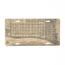 Vintage Map of Savannah Geo Aluminum License Plate