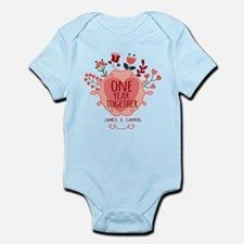 Personalized Retro Floral 1st Year Infant Bodysuit