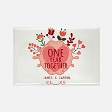 Personalized Retro Floral 1st Yea Rectangle Magnet