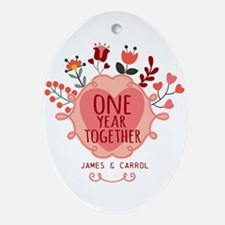 Personalized Retro Floral 1st Year Ornament (Oval)