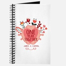 Personalized Retro Floral 1st Year Anniver Journal