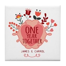 Personalized Retro Floral 1st Year An Tile Coaster