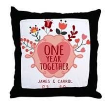 Personalized Retro Floral 1st Year An Throw Pillow