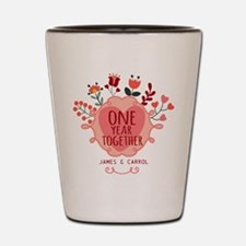 Personalized Retro Floral 1st Year Anni Shot Glass