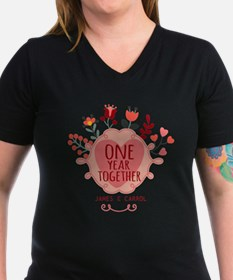 Personalized Retro Floral 1st Year Anniversary T-S