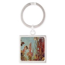Vintage Tropical Fish and Coral Keychains