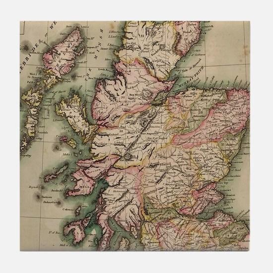 Vintage Map of Scotland (1814) Tile Coaster