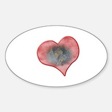 Valentine Squirrels Oval Decal