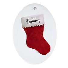 Bulldog Stocking Oval Ornament