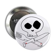 """White Foodie Skull 2.25"""" Button (10 pack)"""