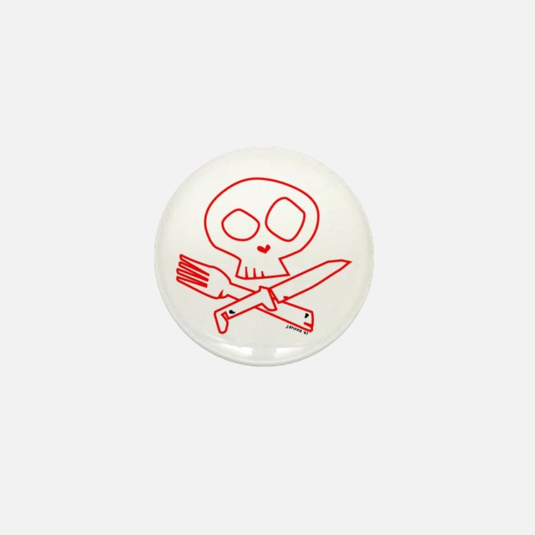Red Foodie Skull Mini Button