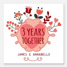 """Personalized 3rd Anniver Square Car Magnet 3"""" x 3"""""""