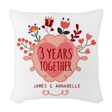 Personalized 3rd Anniversary Woven Throw Pillow