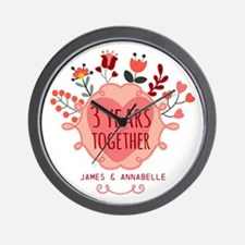 Personalized 3rd Anniversary Wall Clock