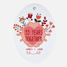 Custom Year and Name Anniversary Ornament (Oval)