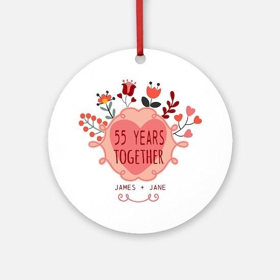 Custom Year and Name Anniversary Ornament (Round)