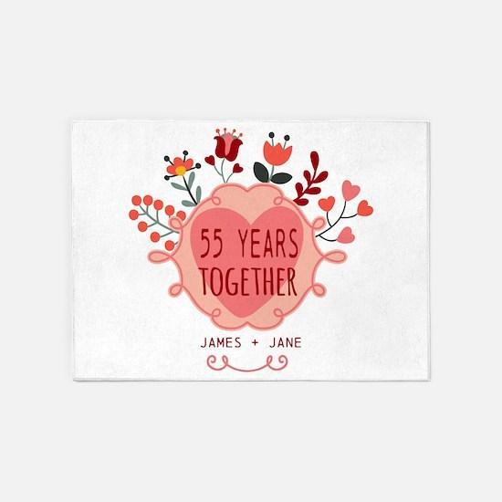 Custom Year and Name Anniversary 5'x7'Area Rug