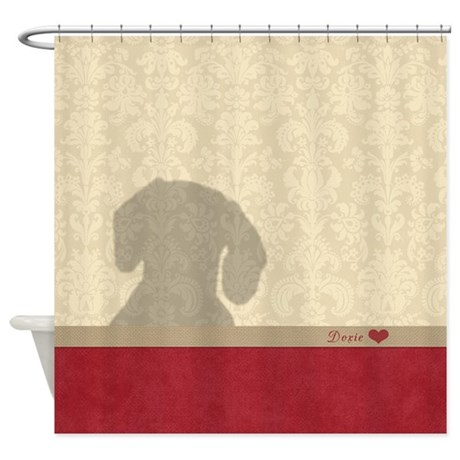 Doxie In The Shower Curtain
