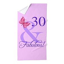 Fabulous 30th Birthday Beach Towel
