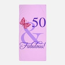 Fabulous 50th Birthday Beach Towel