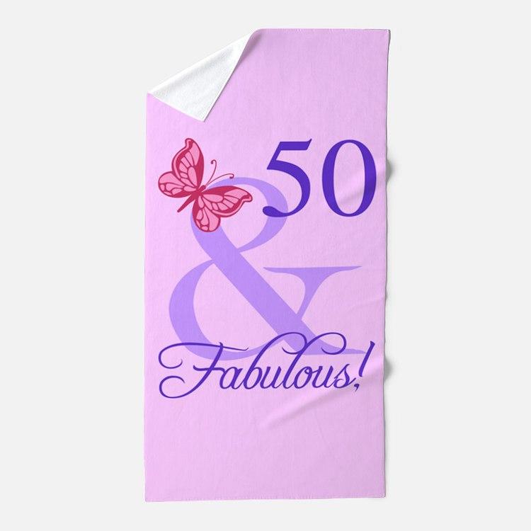 Fabulous 50th Birthday Beach Towel