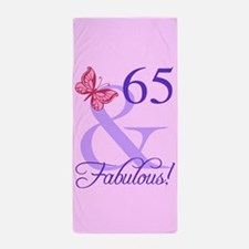 Fabulous 65th Birthday Beach Towel