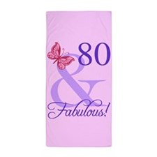 Fabulous 80th Birthday Beach Towel