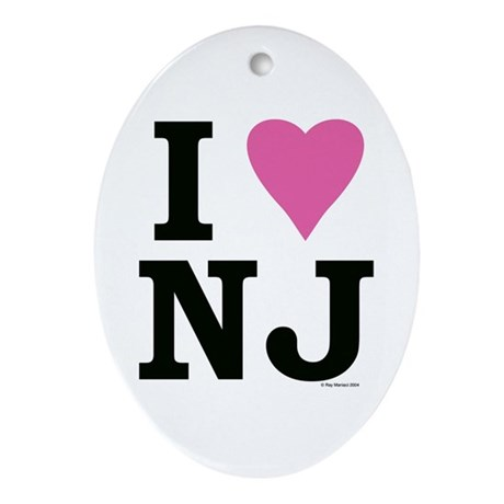 I LOVE NJ (Pink Heart) Oval Ornament