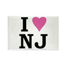 I LOVE NJ (Pink Heart) Rectangle Magnet