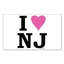 I LOVE NJ (Pink Heart) Rectangle Decal