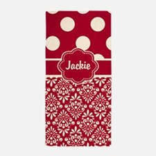 Red Tan Dots Damask Personalized Beach Towel