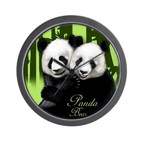 Panda Bears Bamboo Wall Clock