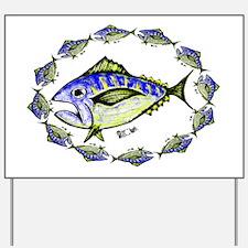Big Retro Tuna  Oval. Fish Retro Tuna RC Yard Sign