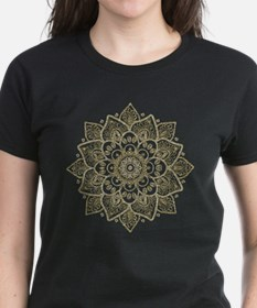 Black Faux Glitter And Gold Floral Mandala T-Shirt