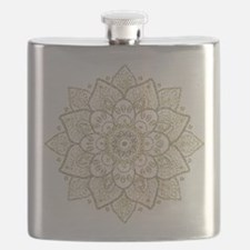 Black Faux Glitter And Gold Floral Mandala 2 Flask