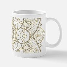Black Faux Glitter And Gold Floral Mandala 2a Mugs