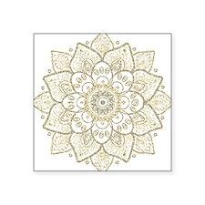 Black Faux Glitter And Gold Floral Mandala Sticker