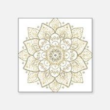 Black Faux Glitter And Gold Floral Mandala Sticker