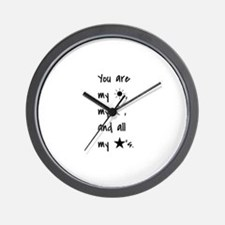 Quote - Sun - Moon - Star Wall Clock
