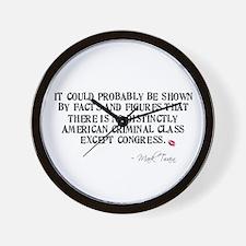 Mark Twain Criminal Congress Wall Clock