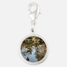 Himeji Japanese garden pond wi Silver Round Charm