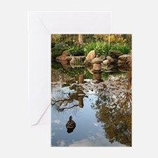 Himeji Japanese garden pond with du Greeting Cards